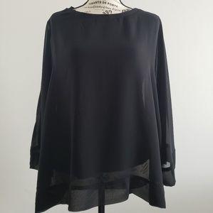Zara scoop neck black winged blouse